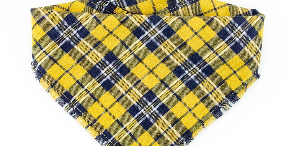 Halstuch Bandana für Hunde von Duftmarke aus Flanellstoff mit Karomuster in gelb und blau
