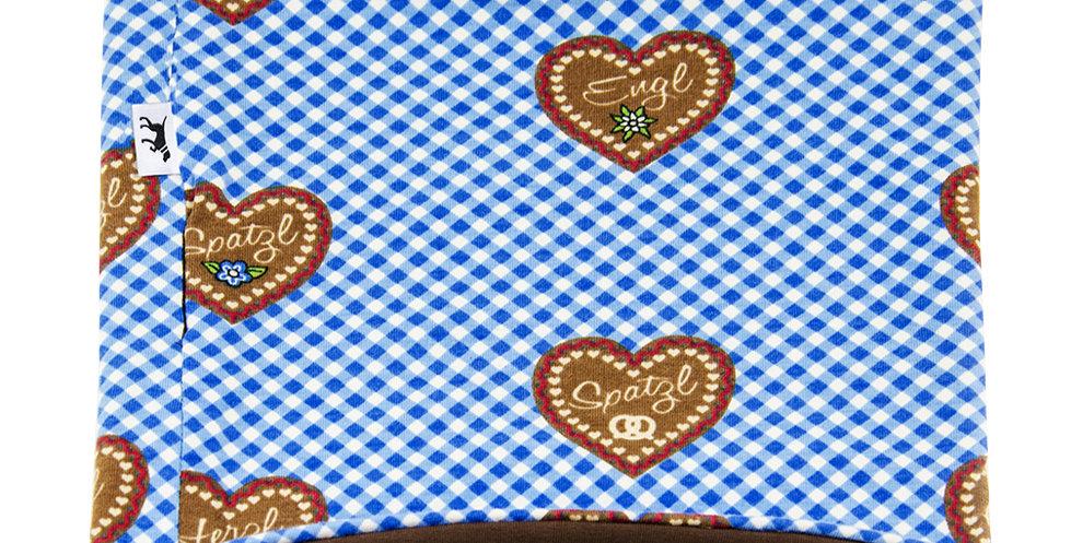 Loopschal für Hunde von Duftmarke für Oktoberfest  mit Bayern Muster und Herzen