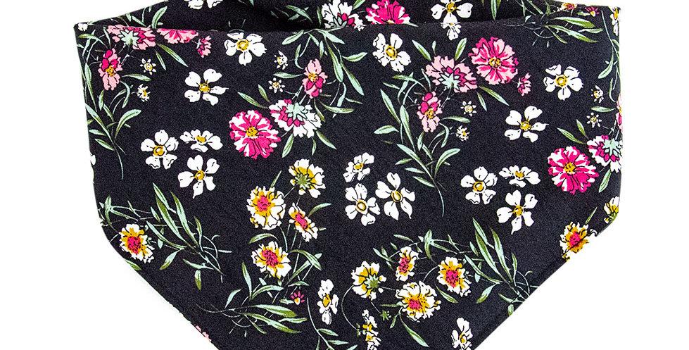 Halstuch, Bandana von Duftmarke für Hunde mit Blumen in schwarz