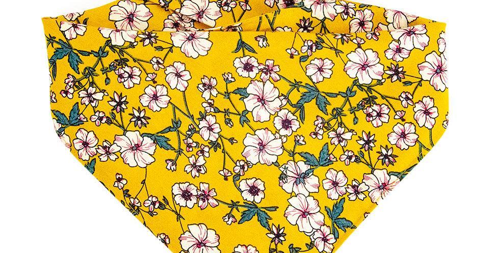 Halstuch, Bandana von Duftmarke für Hunde mit Blumen in gelb