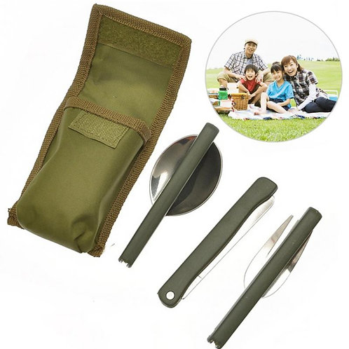 Portable Mini Tableware Outdoor Tool Folding Spoon Fork Knife for Camping Picnic
