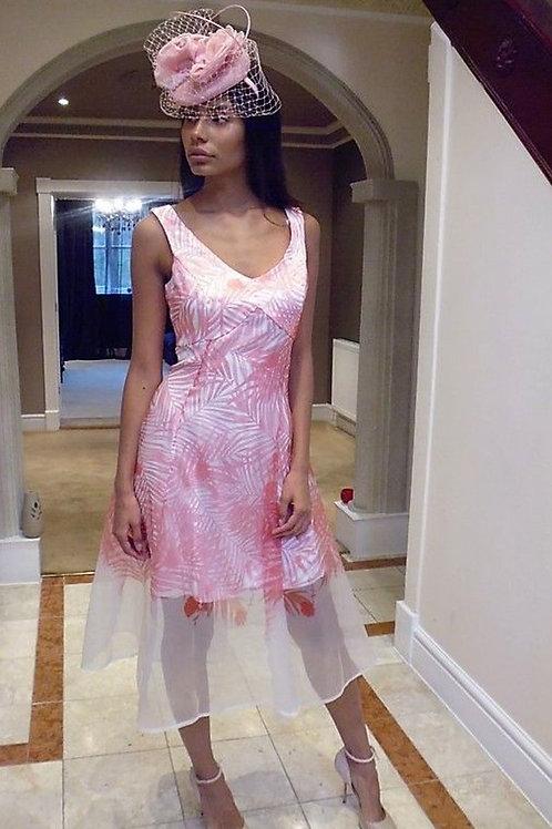 Organza Print Dress with Palm Print