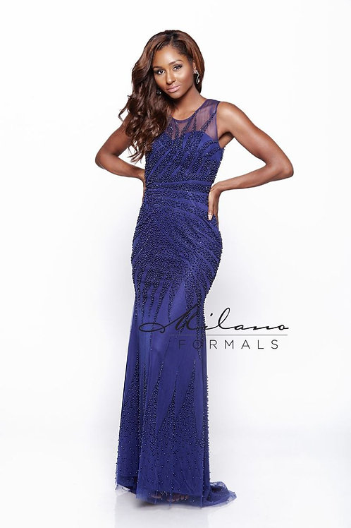 Beaded Embroidered Lace Dress with Scoop Neckline