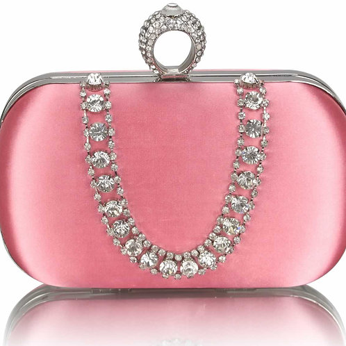 Pink Sparkly Crystal Clutch