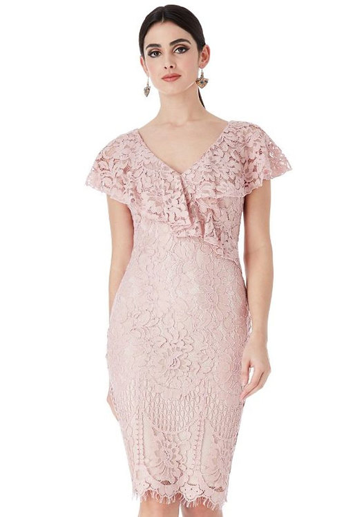 Frilled Neckline Lace Occasion Dress