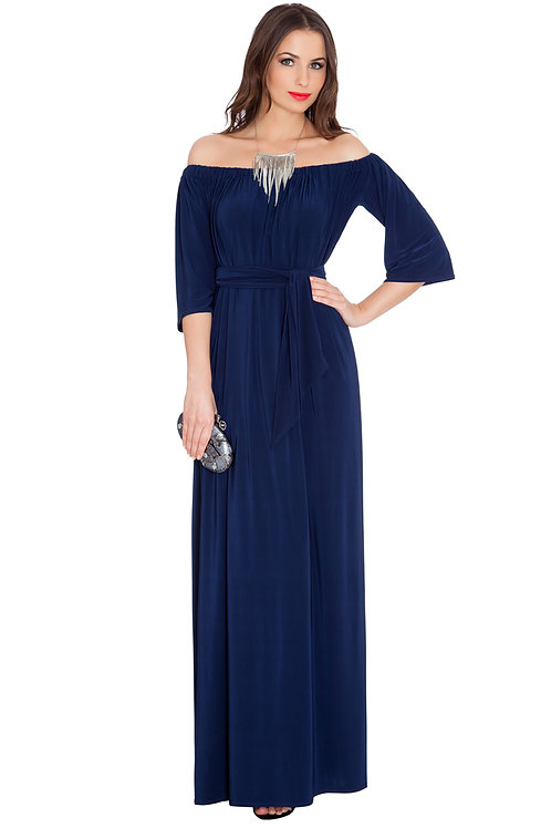 Jersey Maxi Dress with 3/4 Length Sleeves