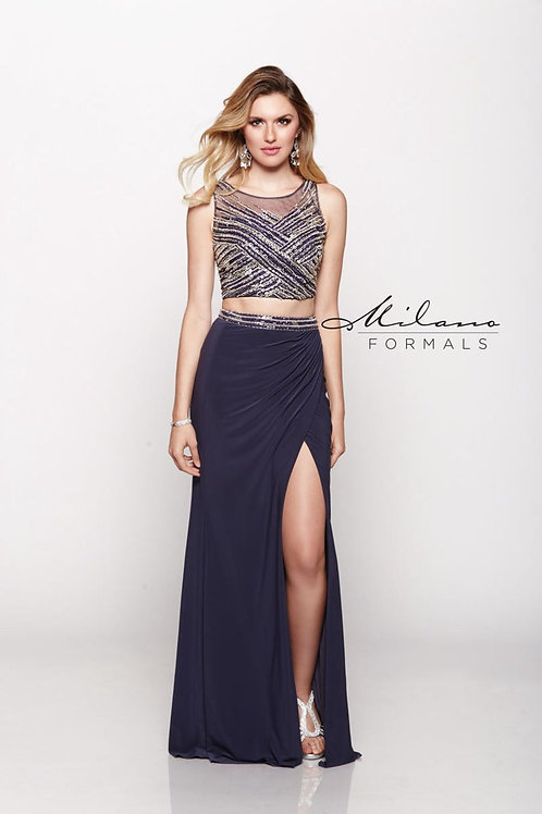 High Neckline Two-Piece Prom Dress