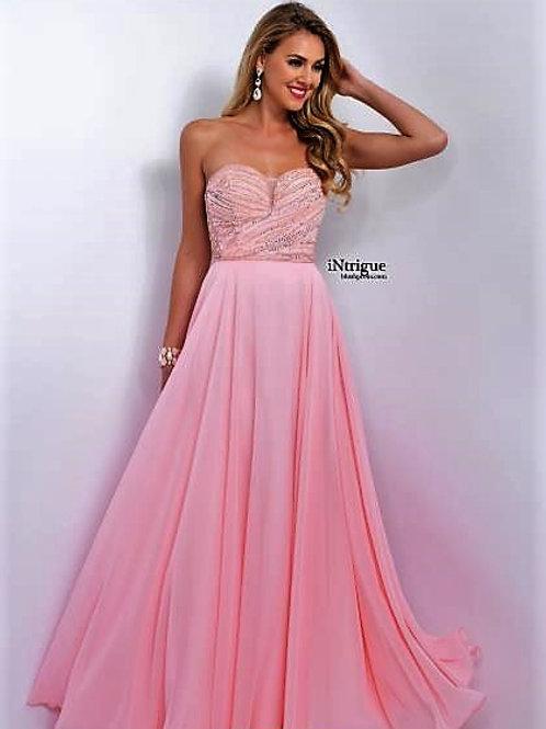 Pearl & Sequin Chiffon Prom Dress