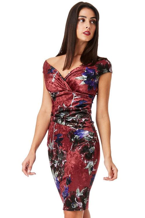 Velvet Floral Print Dress