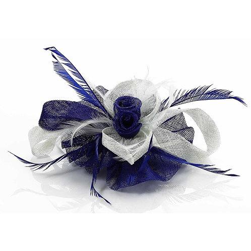 Blue/Purple Feather Mesh Fascinator
