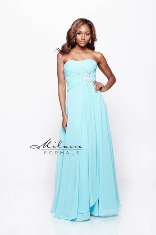 Chiffon Bridesmaid Dress with DecorativeGemstones