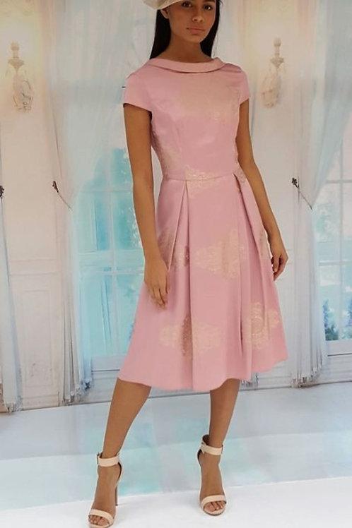 Satin Gold Print Dress