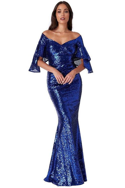 Fluted Sleeves Sequin Evening Dress
