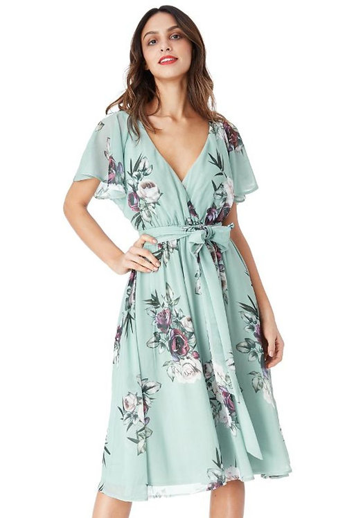 Chiffon Floral Dress with Flutter Sleeves