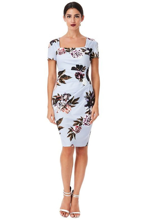 Square Neckline Floral Dress with Short Sleeves