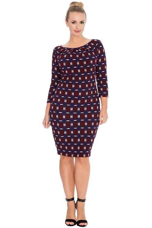 Three Quarter Sleeved Plus Size Occasion Dress