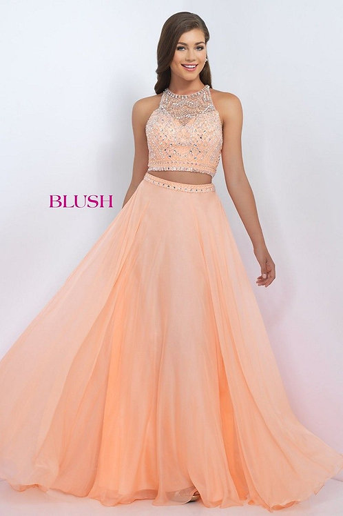 Blush Two Piece Beaded & Chiffon Prom Gown