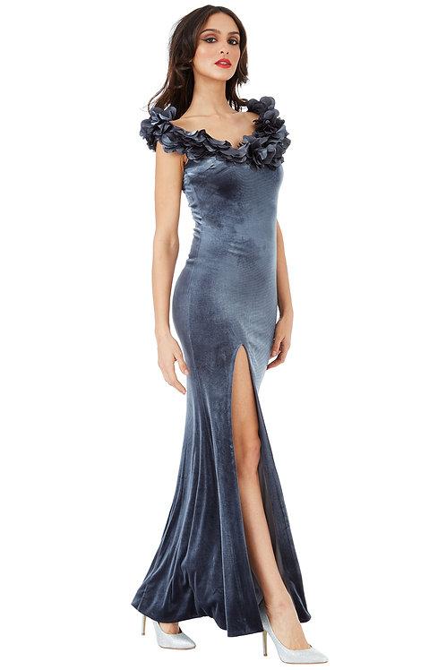Full Length Velvet Dress with Flower Petal Neckline