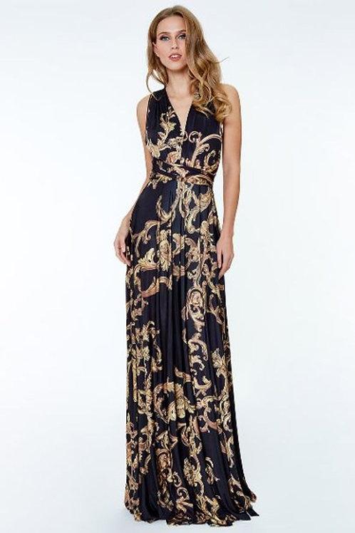 Multi Way Maxi Dress with Baroque Print