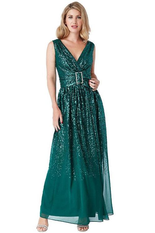 Sequin and Chiffon V Neck Evening Dress