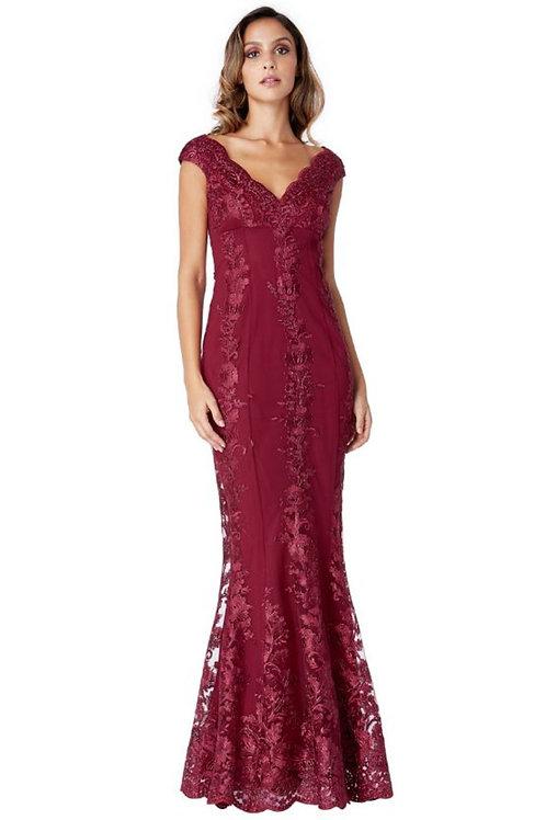 Burgundy Lace Evening Dress