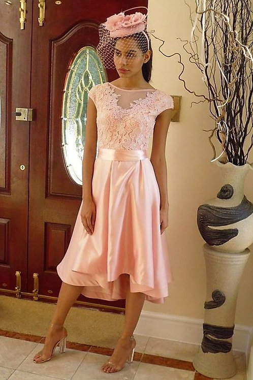 Flared Satin and Lace High-Low Dress