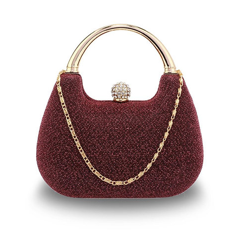 Glittery Clutch Bag with Top Handle and Diamante Clasp