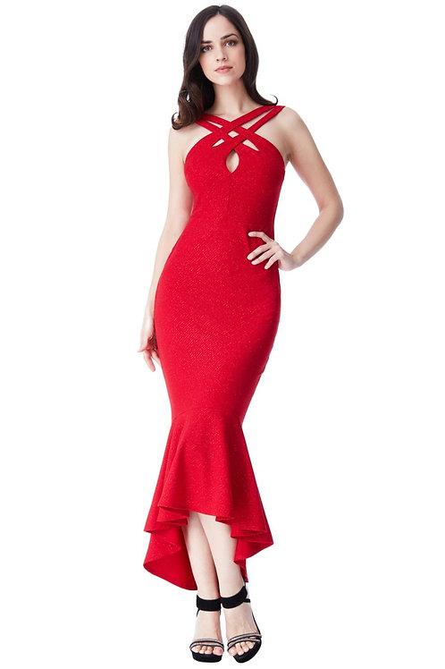 Glitter Print Cross-over Dress