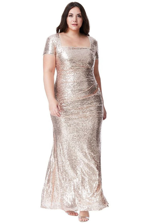 Plus Size Sequin Evening Dress