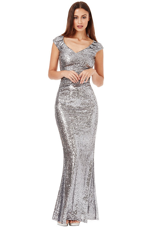 Sequin Pleated Formal Dress