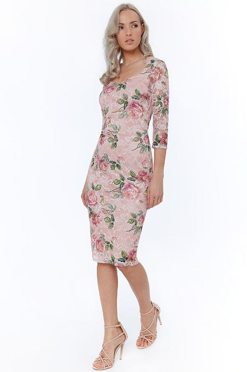 Lace Floral Dress with 3/4 Length Sleeves