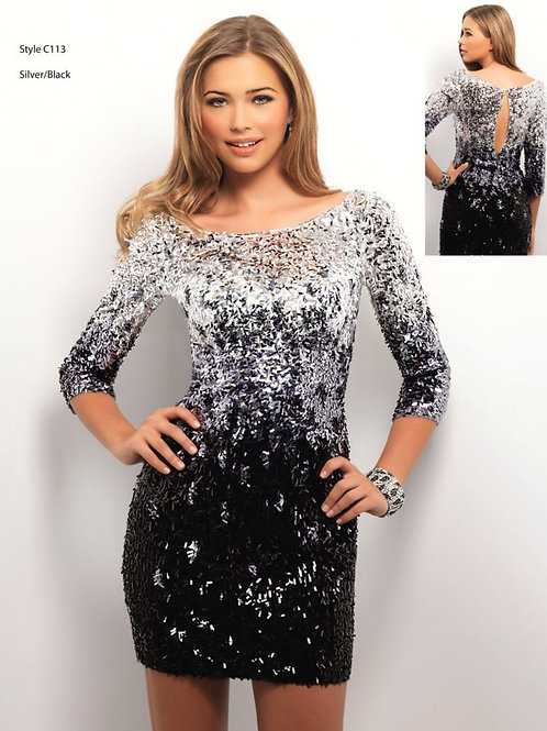 Silver and Black Sequined Cocktail Dress