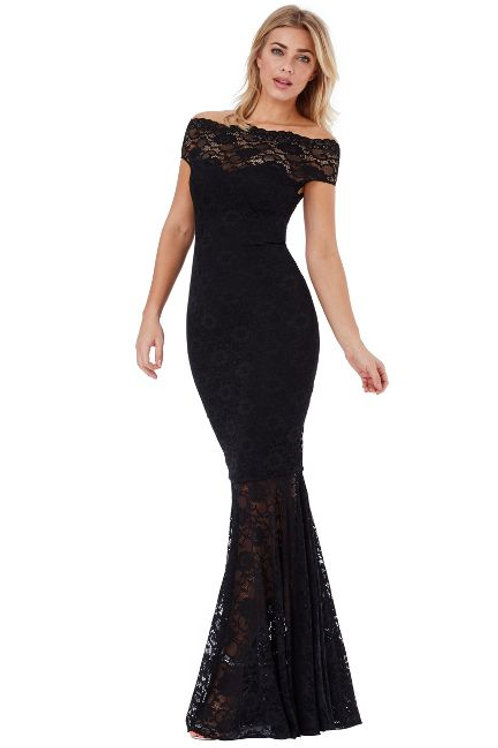 Bardot Neckline Lace Dress