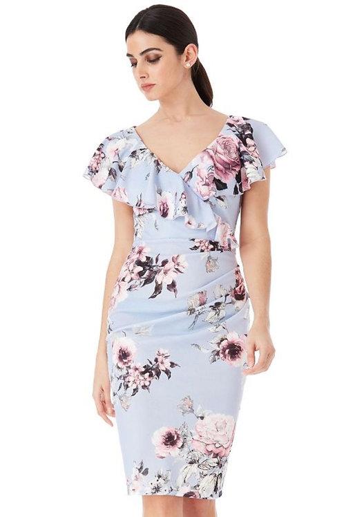 Floral Print Frilled Neckline Knee Length Dress