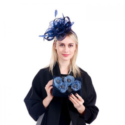 Navy Fascinator and Clutch Bag