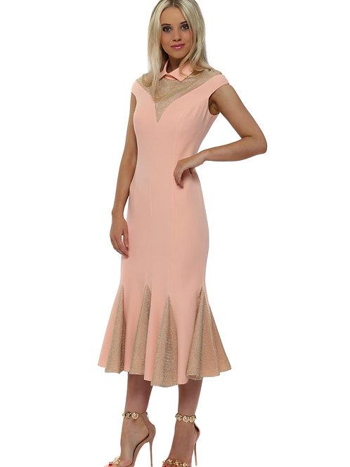 Contrast Pink and Gold Dress