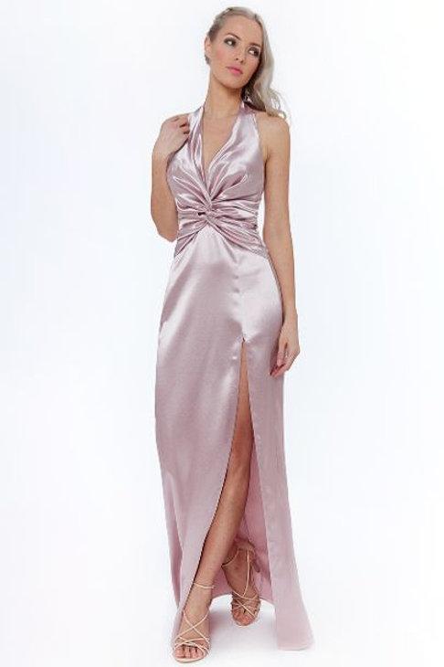 Satin Halter Neck Prom Dress