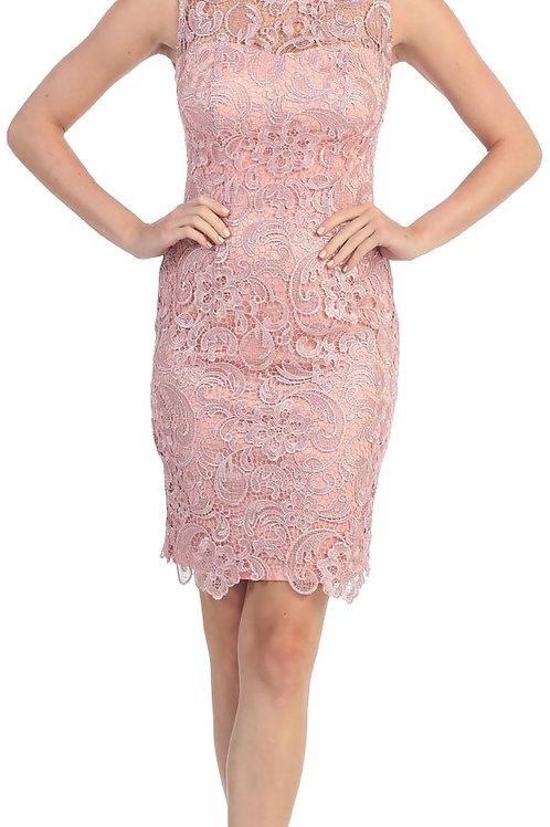 Sheer Neck Short Lace Dress