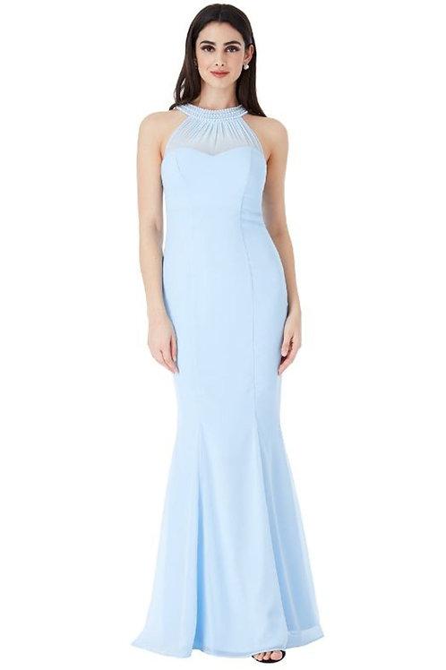 Embellished Neckline Fishtail Maxi Dress