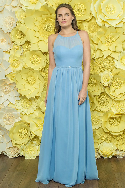 Illusion Halter Neckline Bridesmaid Dress