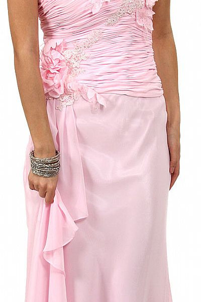 Full Length Dress with Ruched Fitted Bodice
