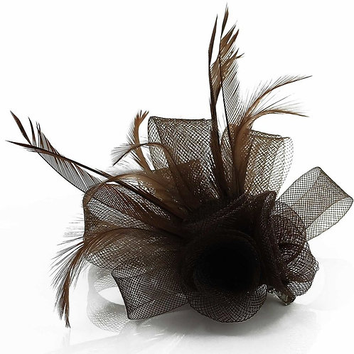 Feather and Mesh Flower Fascinator
