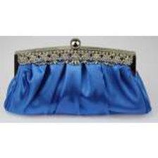 Satin Royal Blue Clutch Bag