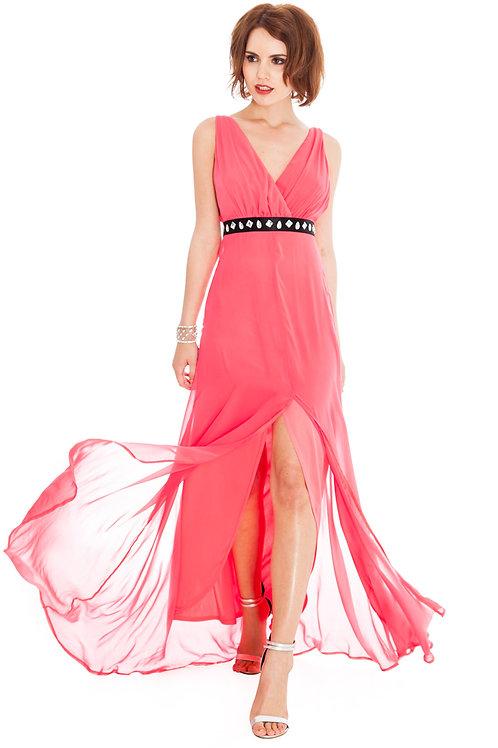 Front Slit Chiffon Maxi Dress