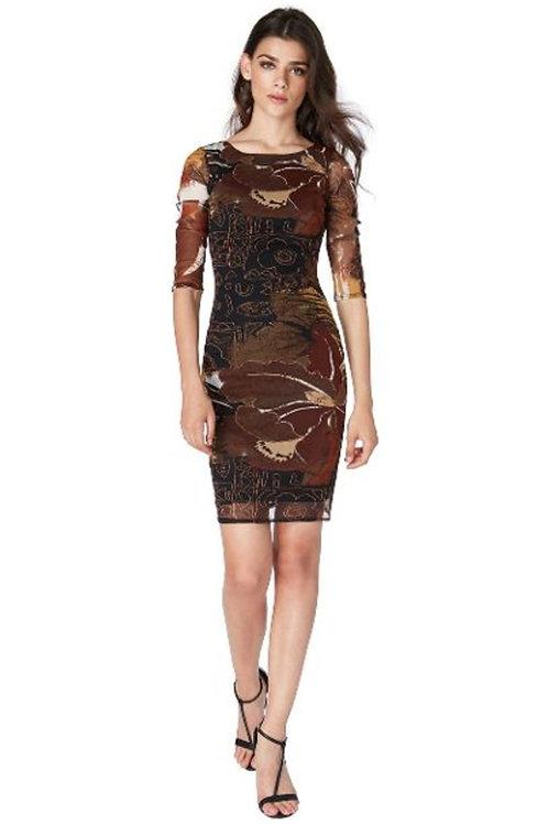 Three Quarter Sleeve Printed Mini Dress