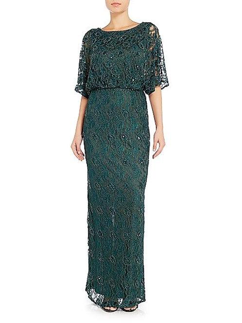 Dark Green Beaded Evening Dress
