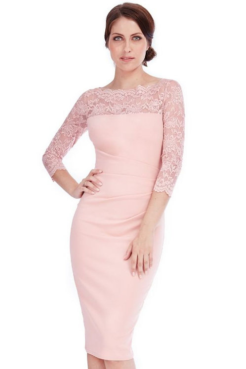 Fitted Occasion Dress with Lace Sleeves
