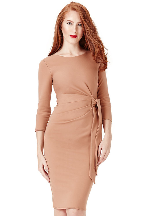 Tie Detail Midi Dress with Long Sleeves