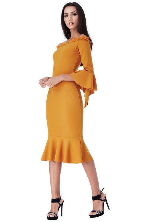 Bell Sleeved Dress With Frill Details