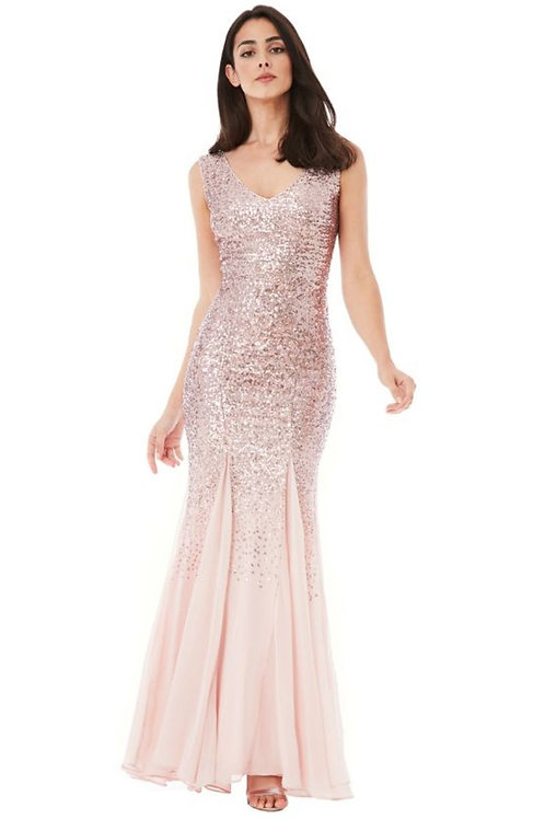 Sequin and Chiffon Evening Dress